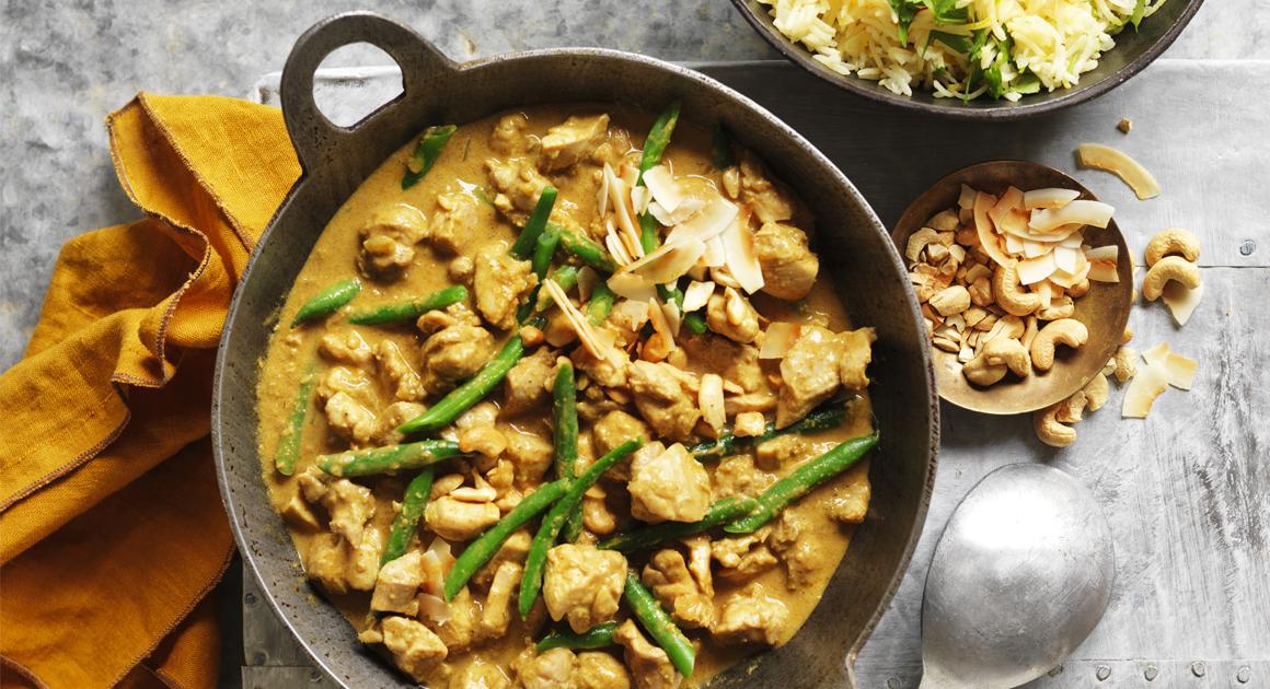 Sri Lankan Coconut & Cashew Chicken with Saffron Rice