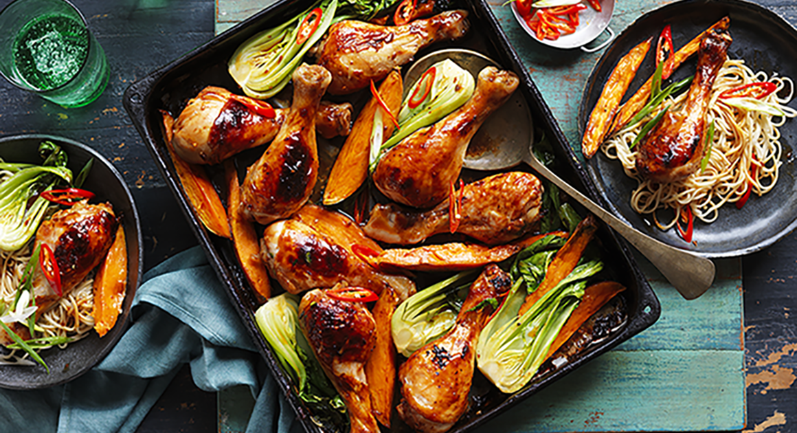 Teriyaki chicken drumstick and vegetable tray bake