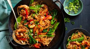 Honey soy stir-fry with shrimp and noodles