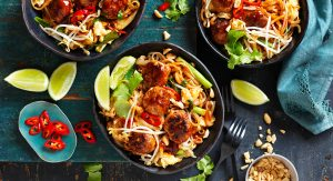 Turkey meatball pad Thai stir-fry