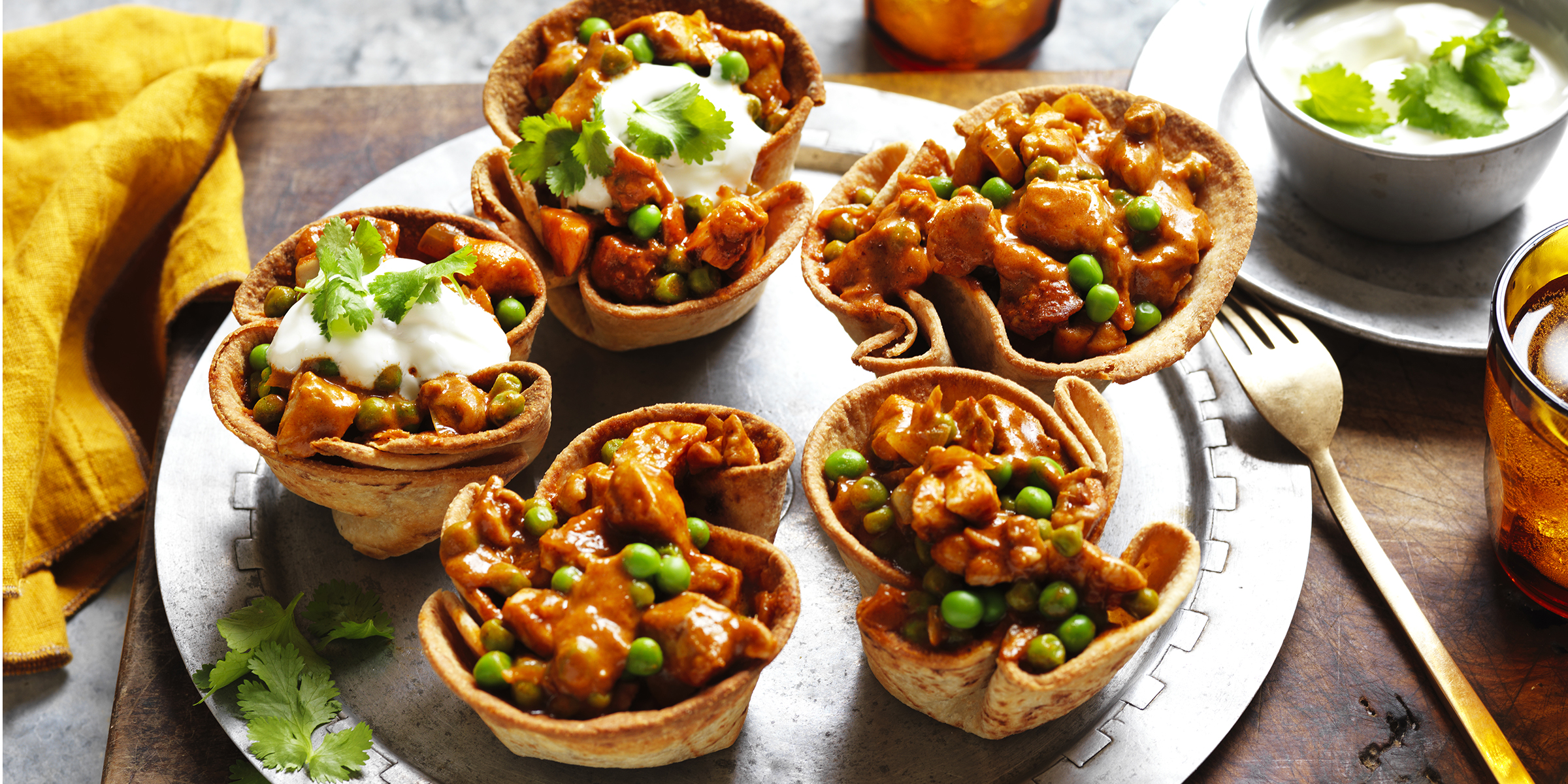 butter chicken roti cups
